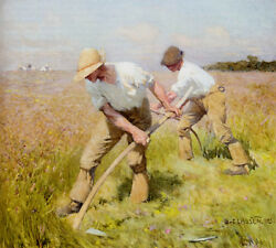 The Mowers, 1885  By George Clausen  Giclee Canvas Print Repro