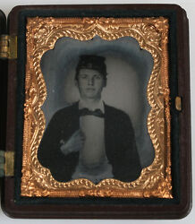 Ambrotype Civil War Soldier Amber Glass Full Union Case