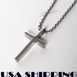 Small Polished Stainless Steel Crucifix Cross Mens womens Necklace $6.99