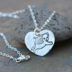 Puppy Angel Necklace- Handmade Fine Silver Heart Charm Dog With Wings- Pet Loss