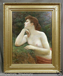 Nude Lady Portrait 19th Century European School Oil Painting (signed lower left)