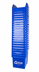 Stackable Blue Recycling Bin Container 6 Gallon Multi-recycler- 20 Pack Of Bins