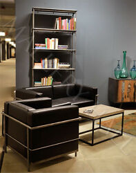 Steel Tube Antiqued Hand Rubbed Black Leather Sofa Contemporary