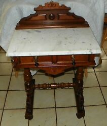 Walnut Carved Marble Top Writing Desk / Entry Table Dr70