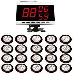 Singcall Wireless Alarm Paging System For Bank 20 Table Bells And 1 Receiver