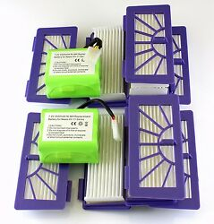 2 Batteries And 10 Filters For Neato Xv-15-11 -12 -25 -21 Signature Pro