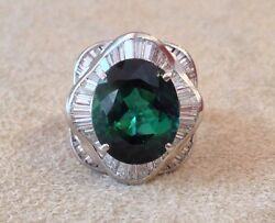 6.92 Ct Oval Green Tourmaline In Plat Diamond Baguette Ring -hm1422ae