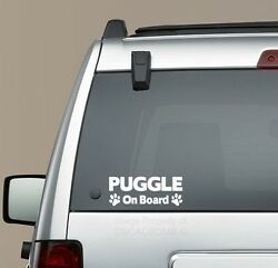 Puggle On Board Paw Print decal sticker -  puppy beagle pug mix kennel love