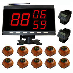 Singcall Wireless Cinema Calling Pager Systems 10 Bells 2 Watches 1 Receiver