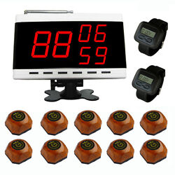 Singcall Wireless Waiter Service Calling Systems 10 Bells 2 Watches,1 Screen