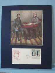 General Grant And General Lee Meet At Appomattox And First Day Cover Of Its Stamp