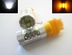 Pair Cree xbd 80w 3157 WhiteAmber Switchback LED Turn Signal Car DRL Light Bulb