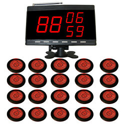 Singcall Wireless Table Calling Systems,20 Red Button Table Bells And 1 Receiver