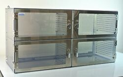 Nitrogen Desiccator Cabinet Acrylic Four Chambers With Gas Ports And Shelves