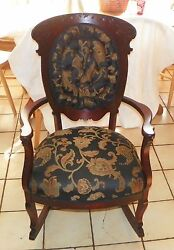 Mahogany Carved Victorian Tufted Rocker / Rocking Chair R105