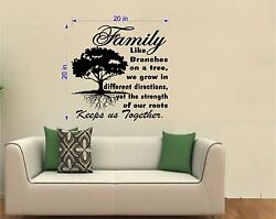 Tree Wall Decal. Inspirational Decal. Family. Roots Keep Us Together. 20 W