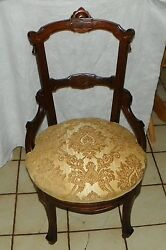 Walnut Carved John Jelliff Side Chair / Parlor Chair Sc175
