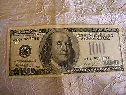 Very Rare 1996 One Hundred Dollars Federal Reserve Error Note Missing Seal