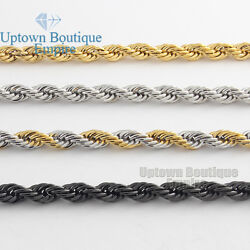 Men Women#x27;s Stainless Steel 2 3 4 5mm Rope Necklace Chain 18 36quot; Link $8.73