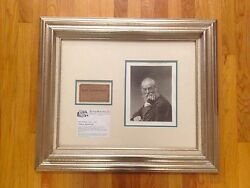 Signed Walt Whitman Photograph Lecture Ticket Signed Death Of Lincoln