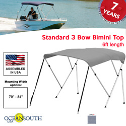 Oceansouth Bimini Top 3 Bow Boat Cover Gray 79-84 Wide 6ft Long W/ Rear Poles