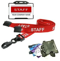 Red Staff Identity Card With Staff Lanyard And Id Card Holder - Custom Print