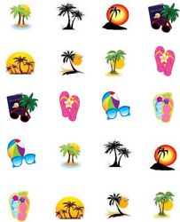 Palm Trees Waterslide Water Transfer Nail Decals Nail art