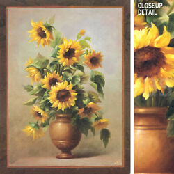 36wx48h Sunflowers In Bronze Ii By Welby - Vased Floral - Choices Of Canvas