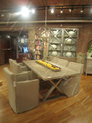 Reclaimed Elm Top Nickel Plated Base Dining Table  Parquet Design on Top