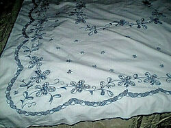 Vintage Hand- Embroidered Tablecloths + 6 Doilies - Napkin 100 Cotton
