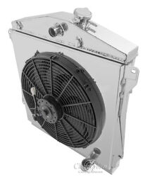 3 Row Radex Radiator W Fans And Fan Shroud For 43-48 Chevy V8 With Trans Cooler
