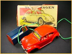 Asahi Battery Operated Volkswagen Beetle Vw, Cox Japan Antique Tin Toy