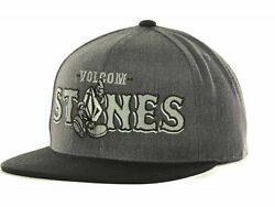 Volcom Stones Silver Logo 2tone Charcoal Gray Black Adjustable Snapback Cap Hat