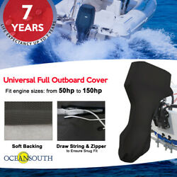 Oceansouth Full Outboard Motor Universal Cover Black Fits 50hp To 150hp