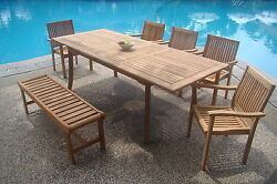 Dslv Grade-a Teak 7pc Dining 94 Rectangle Tablebenchstacking Arm Chair Set