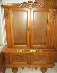 Antique Mid. Europe Fine Cabinet For Collectibles / Porcelain Dinnerware Display