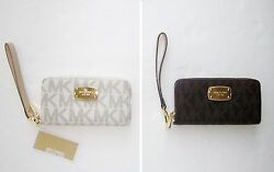 Michael Kors Leather Logo Zipper Around Wallet Phone Case Coin Wristlet iPhone 6