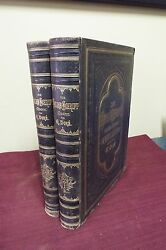 2 Lg. Folio German Bible - Gustave Dore Circa 1870's- Many Full Page Engravings