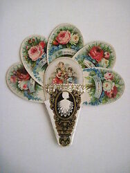 Vintage Victorian Valentine Die Cut Fan Card W/three Angels And Many Roses