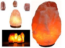 Natural Himalayan Rock Salt Lamps On Wooden Base. (Plug & Bulb Included)
