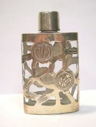 Vintage Mid Century Sterling Silver 925 Overlay Oval Glass Perfume Bottle Mexico