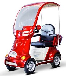 RED Fast 4 Wheel BUGGIE EW-54 Top & Windshield Mobility Scooter Foot Brake