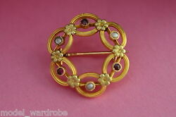 Museum Quality 18k Late Georgian 18th Cen Tri-color Gold Ruby And Pearl Brooch