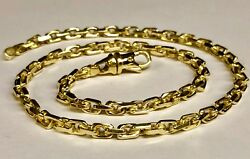 14kt Solid Yellow Gold Handmade Link Menand039s Chain/necklace 18 32 Grams 4.5mm