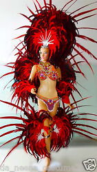 Da NeeNa C058C Showgirl Burlesque Orange Samba Headdress Backpack Costume Set