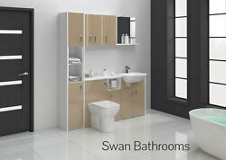 Cappuccino Gloss Bathroom Fitted Furniture 1700mm With Wall Units