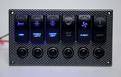 6 Gang Laser Etched 2 LED Rocker Waterproof Switch Printing Panel - Boat