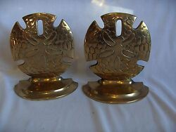 Vintage Solid Brass Sand Dollar Shell Book Ends Bookends Nice