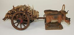 Firewood Cart Pulled By Oxen - Wood And Terracotta - 19th Century - 565