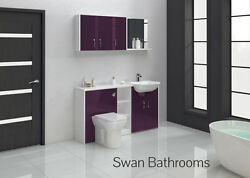 Aubergine Gloss Bathroom Fitted Furniture 1600mm With Wall Units